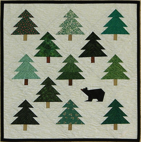 Bear In The Woods Quilt Art