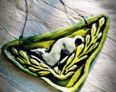 Hand Sculpted Wall Tile - Etruscan Greyhound