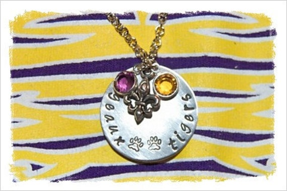 1in Round Hand Stamped LSU necklace with glass beads and fleur de lis charm