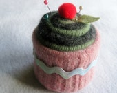 Cupcake Pincushion, Felted Wool, Upcycled Felted Wool, Pink, Green, Charcoal Gray, Ric Rac