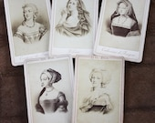 Antique Marie Antoinette and French Royalty CDV Photo Cards from PARIS - Set of 5