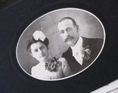 on reserve - SWEET Victorian Wedding Cabinet Card Photo - Matching Corsages