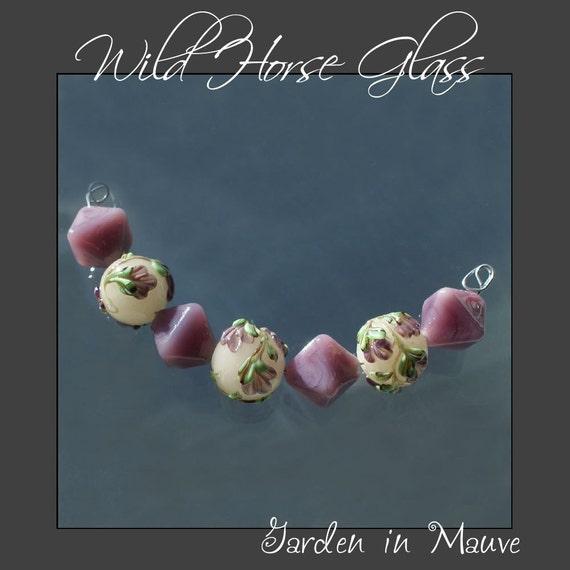 Garden in Mauve - Set of Seven Handmade Lampwork Floral BeadsFrom WildHorseGlass