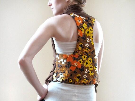 Vintage Floral Vest. Wool Jersey. Racer Back.