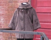 Cocoa Faux Fur Vintage Coat with Convertable Collar