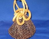 Vintage Wood and Bamboo Mesh Woven Beaded Hand Bag