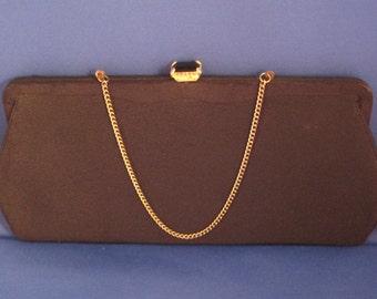 Slim Black Clutch Purse with Jeweled Tilt Closure