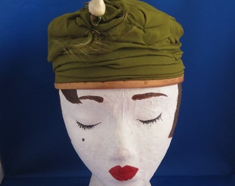 Olive Green Vintage Ruched Hat with Rose n Feather Detail
