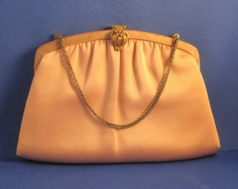 Light Mocha Satin Clutch with Flower Fliptop Closure