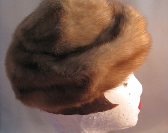 Caramel Mink Hat with Top Knot Detail