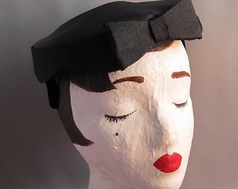 Petite Scalloped Black Hat with Bow