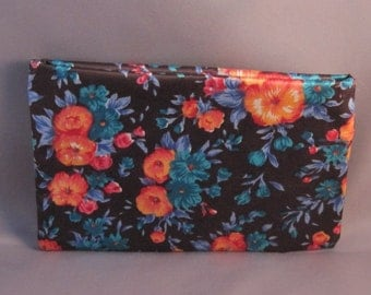 Cosmetic Bag in Brown and Blue Floral