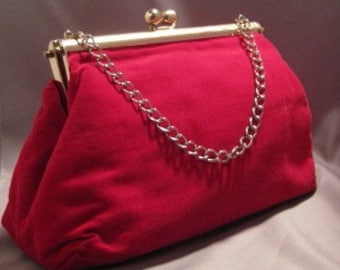 Vintage Large Red Velvet Velour Bag with Chain Fully lined