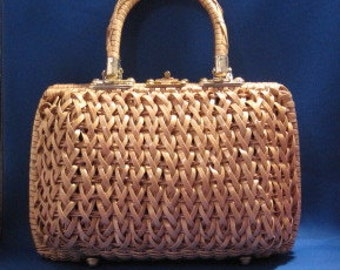Large Dark Cream Cafe Vintage Woven Handbag Purse