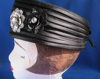 Black Wool Hat with Flowers and Rhinestones by Glenover Henry Pollak