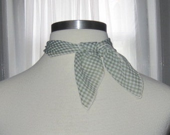 Sheer Square Green Check Vintage Gap Scarf made in Italy