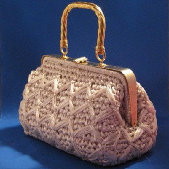 Mister Ernest Italian Large Vintage  Cream Handbag with Gold Tone Handle