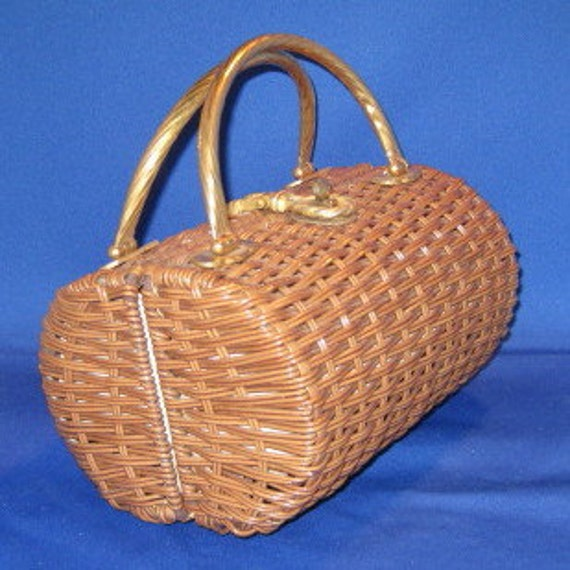 Vintage Tan Wicker Purse with Tassel Details