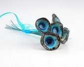 Holidays decoration Turquoise and brown ceramic bouquet Home decoration Chic   Handmade ceramic flowers tbteam