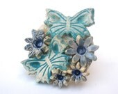 Statement ring ceramic collage buterflies and flowers ring chic style  fashion Ceramic jewelry ceramic flowers Fall Autumn jewelry