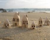 A set of tiny ceramic rustic beach cottage - miniature houses Home decoration Collection  Little houses Miniature sculpture