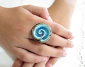 Turquoise ring Turquoise and brown Huge statement jewellry  A stylish and OOAK  ceramic jewelry