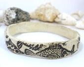 Ceramic bangle Ceramic Cuff OOAK  stone look ceramic fish bracelet  Fashion jewelry Ceramic jewelry Bracelet elitett