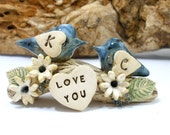 LOVE YOU  wedding cake topper A pair of ceramic love birds on a branch with your initials in a color of your choice - elitett tbteam
