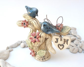 Wedding cake topper Custom pair of love birds on a sculptured love tree
