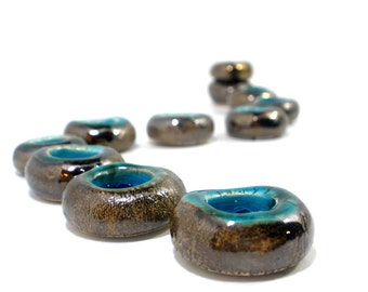 Hanukkah Menorah OOAK Ceramic Menorah Round flowers in golden brown and turquoise