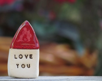 Love you  house  - Message houses Miniature houses  Little rustic houses Red house Valentine gift, Wedding reception