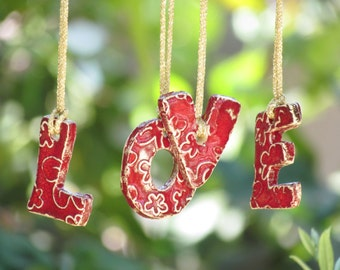 Wall ornament Holiday ornament LOVE hanging letters Ceramic letters for any room Ceramic alphabet  LOVE letters