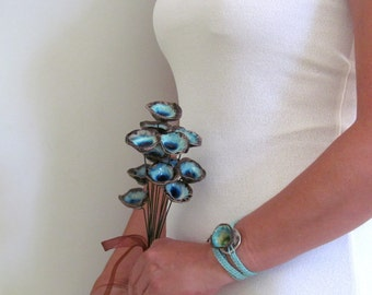 Alternative bouquet Wedding bouquet Bridal bouquet Aqua Turquoise and brown handmade ceramic flowers