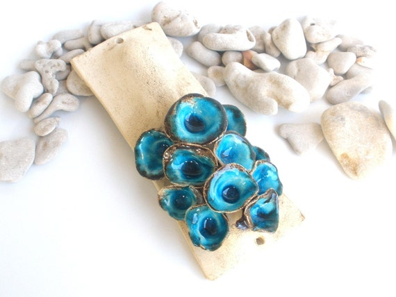 One of a kind Mezuzah case in turquoise shade for home blessing