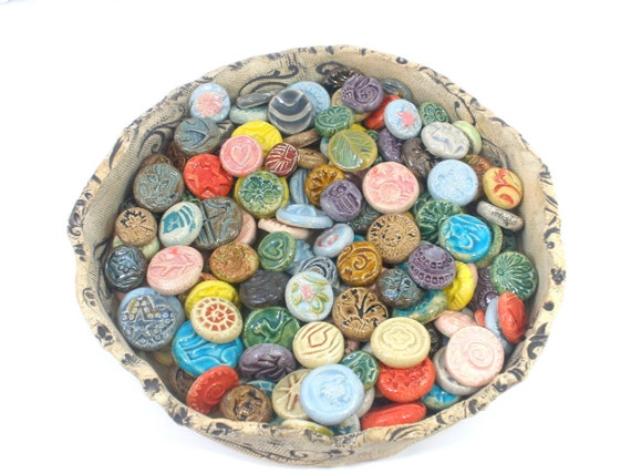 Round colorful tiles and cabochon collection Table decor Altered art Mixed media Jewelry design
