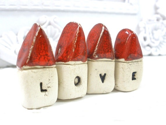 Miniature houses LOVE houses Valentines day gift Love sign