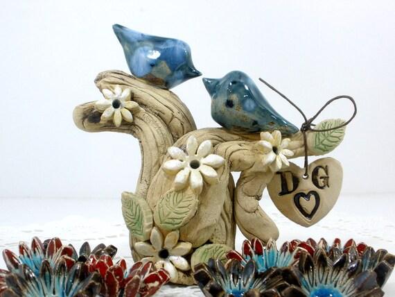 Bride and groom Wedding cake topper Birds cake topper Custom love birds