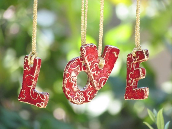 Wall ornament Christmas tree ornament LOVE hanging letters Ceramic letters for any room Ceramic alphabet  LOVE letters