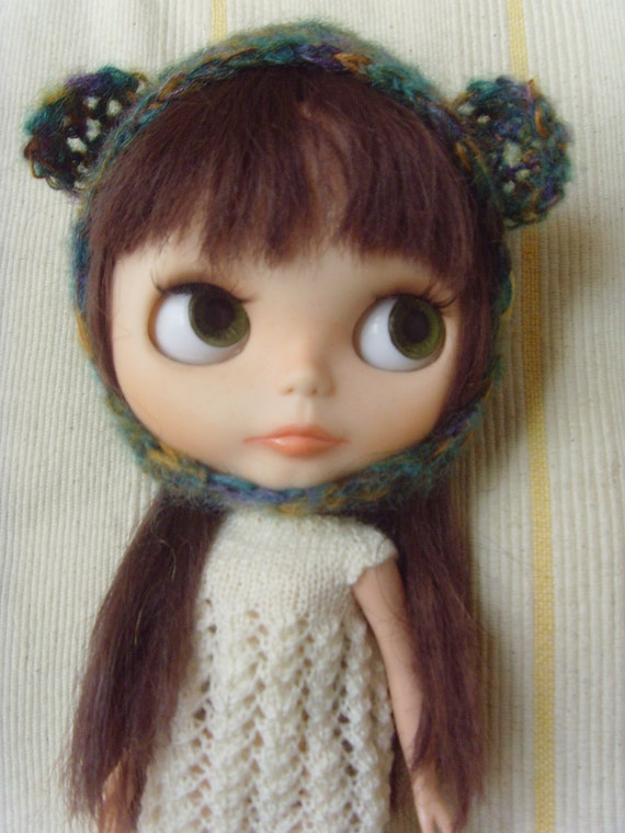 Mohair green and mixed colors Blythe helmet hat