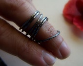 Random Ring Set - SIX Hammered Sterling Silver Rings - Size 6.5 - Dark Finish - FREE SHIPPING