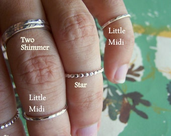 Hammered Sterling Silver Ring - Size 6 - The Little Midi Ring -