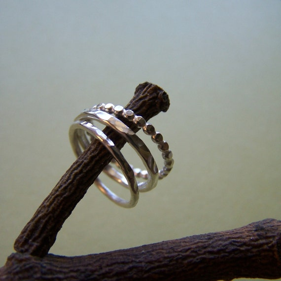 Sampler Ring Set - MADE TO ORDER - Sterling Silver Stacking Bands - Free Shipping in U.S.