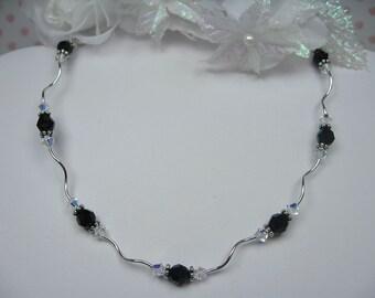 Curvy Black Swarovski Crystal and Sterling Silver Necklace