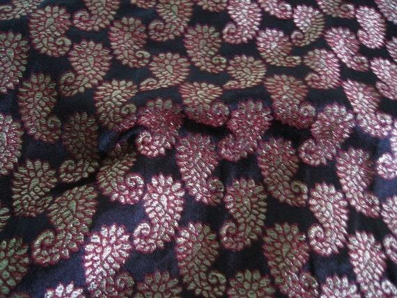 Black Paisley Brocade Silk