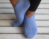 Handknitted Wool Ocean Blue Slippers