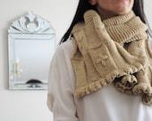 Floral Camel Scarf, Handmade Scarf, Knitt Scarf