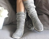 Handknitt Slippers, Leg Warmers, Very Soft Comfy Grey Slippers,Winter Slippers