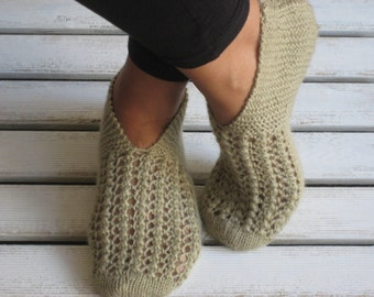 Christmas Gifts, Wool Slippers, Handknit Slippers, Women Slippers, Slippers, Womens Shoes