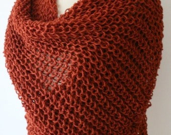 New Reddish Shawl, Scarf, Long Scarf, Knit Scarf, Knitted Scarf, Christmas Gift, Crochet Scarf