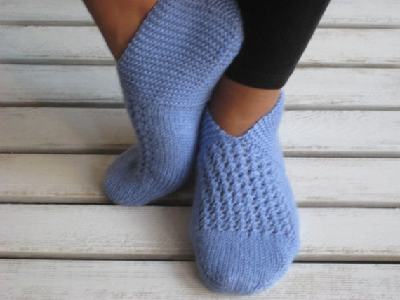 Handknitted Wool Ocean Blue Slippers
